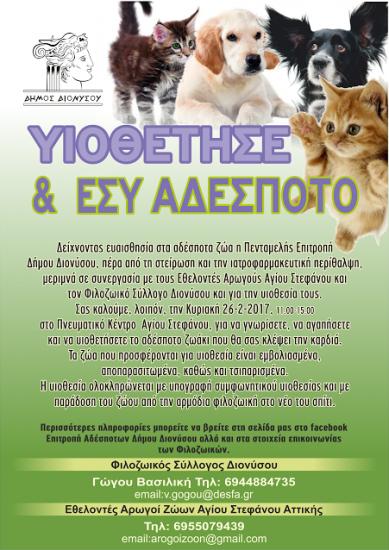 Δήμος Διονύσου: «Υιοθέτησε και εσύ ένα αδέσποτο»